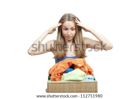 young woman with laundry, housework