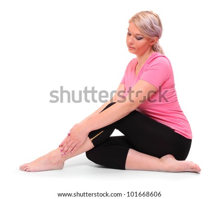 Young woman with legs pain.