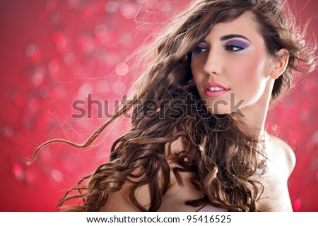 young  woman with long flying hair, fashion photo
