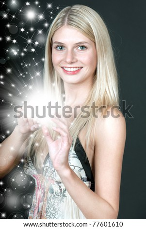 young woman with magic shine