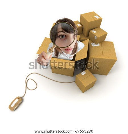 Young woman with magnifying glass and cardboard boxes connected to a computer mouse