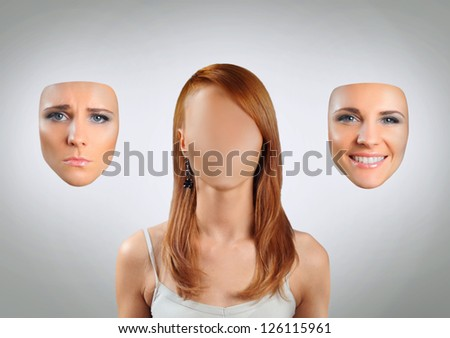 young woman with many faces