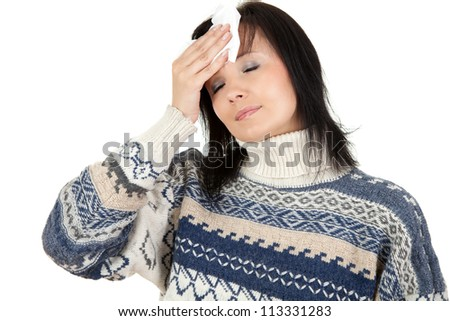 young woman with pain, headache, white background
