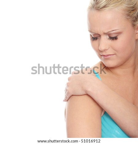 Young woman with pain in her arm. Isolated