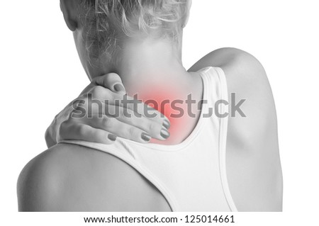Young woman with pain in the back of her neck, black and white, red spot around painfull area