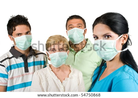 Young woman with protective mask standing in profile and in front of image looking at you and other three people with mask near her concept of protection from sickness
