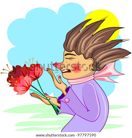 Young woman with red flowers sneezing of cold or allergy