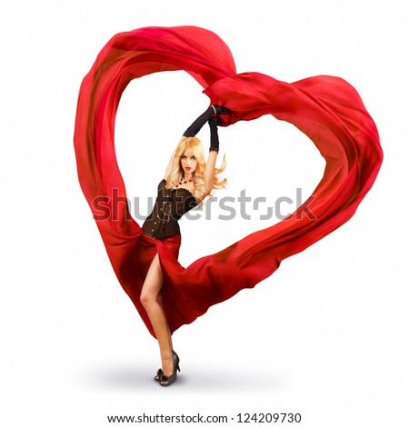 Young Woman with Red Silk Valentine Heart