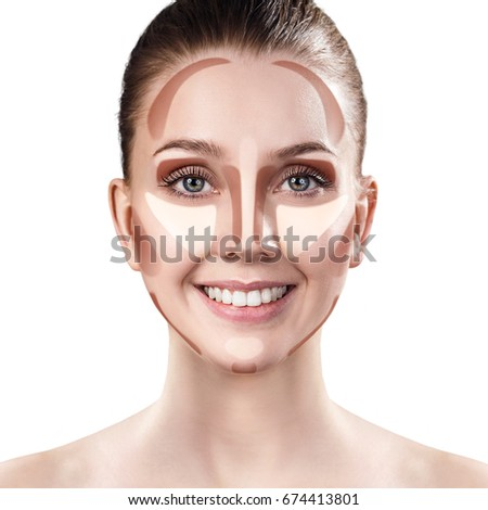 Young woman with sample contouring and highlight makeup on face. #674413801