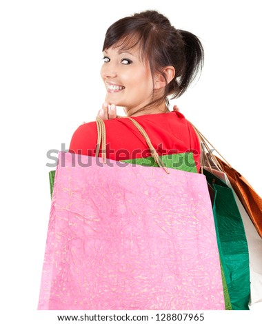 young woman with shopping bags, white background