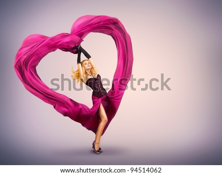 Young Woman with Silk Valentine Heart