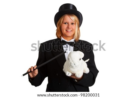 Young woman with stovepipe hat holding a magic wand and a white rabbit