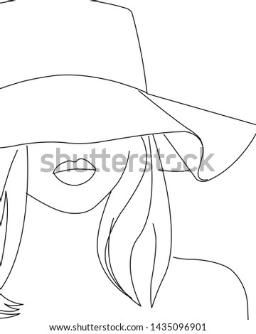 Young woman with summer hat enjoying the beach on a sunny day. Line art drawing of a young woman. A young lady with sexy lips and beautiful long hair. Black and white drawing of a young  woman.
