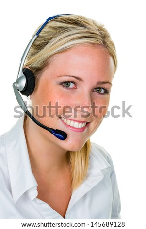 young woman with telephone headset in the office in order acceptance. sales and customer service.