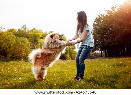 Young woman with the dogs in the park.