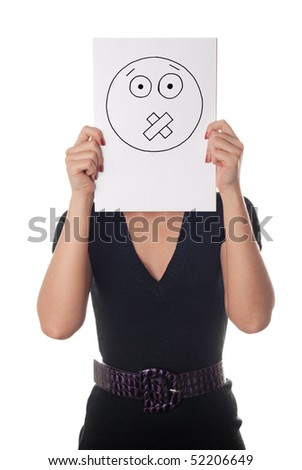Young woman with the painted taped face on the sheet of paper over his face isolated on white