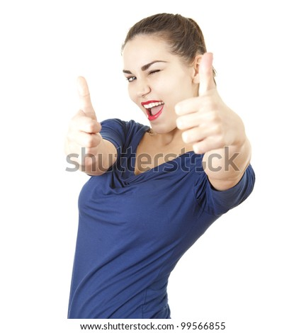 young woman with thumbs up, white background