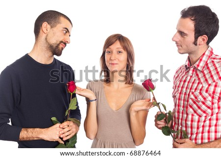 Young Woman with Two Boyfriends