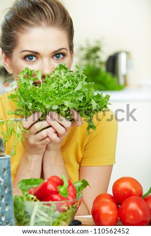 Young woman with vegetable food.