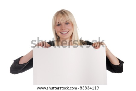 young woman with white billboard