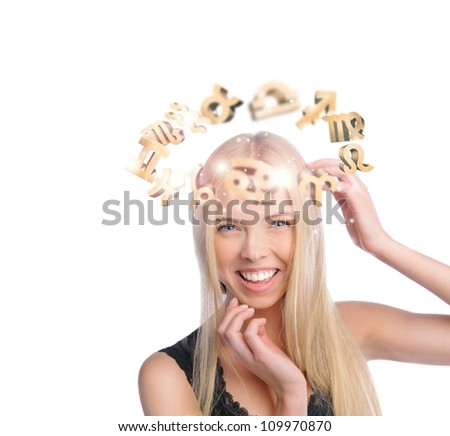 Young woman with zodiac symbols flying overhead