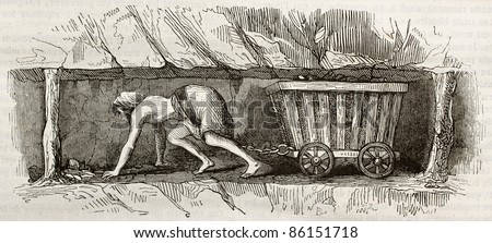 Young woman working as a coal miner, towing a cart. By unidentified author, published on Magasin Pittoresque, Paris, 1843