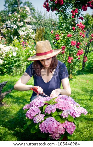 Young woman working in her garden #105446984