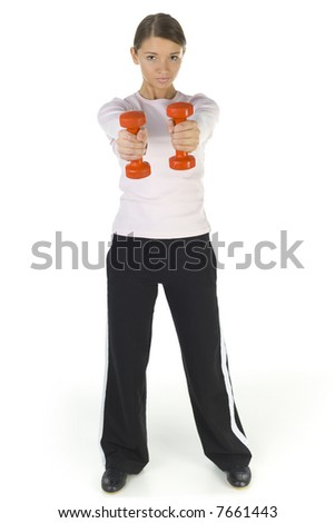 Young woman working out with dumbbells. Looking at camera. Isolated on white in studio, front view. Whole body