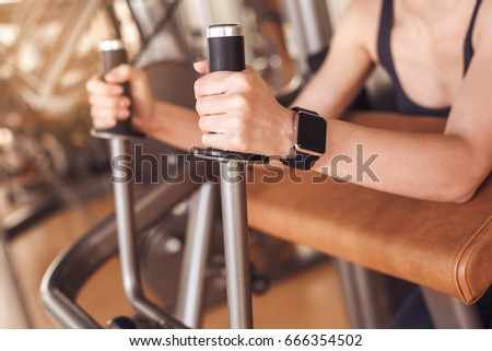 Young woman workout in gym healthy lifestyle #666354502
