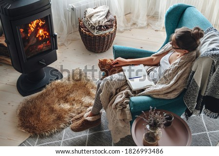Young woman write in a notebook sitting in a cozy armchair by the fireplace with a domestic cat Stock fotó ©
