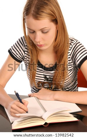 Young woman writing - stock photo