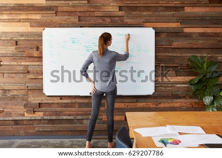 Young woman writing on a whiteboard in an office, back view