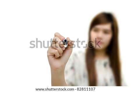 Young woman writing something, on the screen isolated on white background.