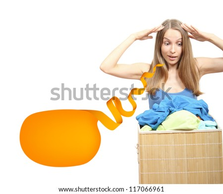 young woman wth laundry and speech bubble, housework