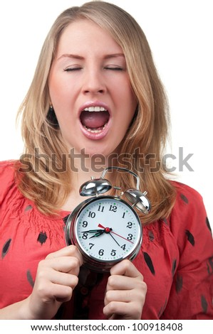 young woman yawning isolated on a white background