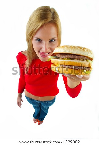 young women and burger