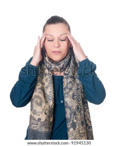 young women has headache