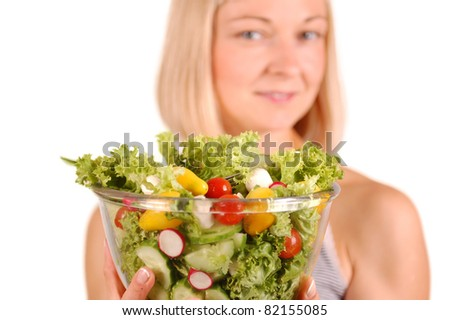 Young Women Holding Bowl with  Healthy Salad/Healthy Salad