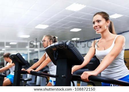 Young women in fitness club