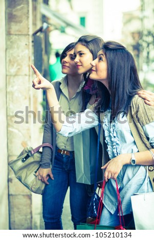 Young Women in front of a Clothing Store