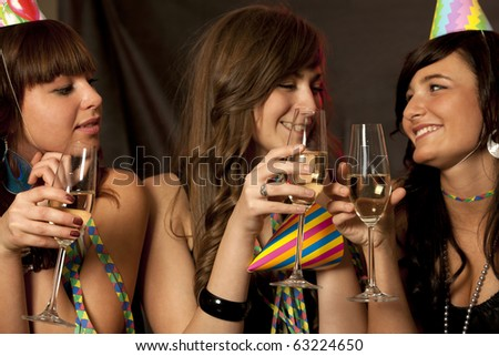 Young women on New Year Party