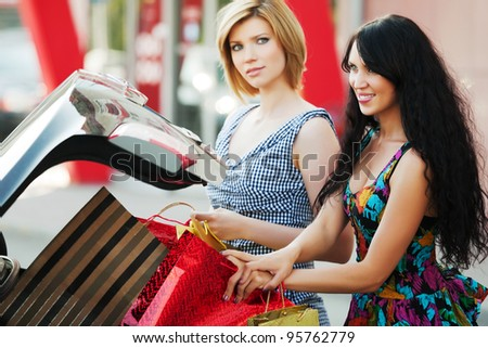 Young women shopping