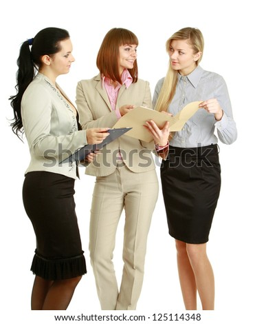 Young women standing with folder, isolated on white background