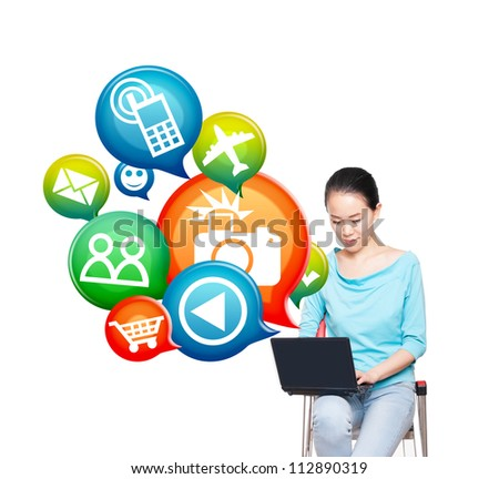 Young women use notebook computer, electronic business concept