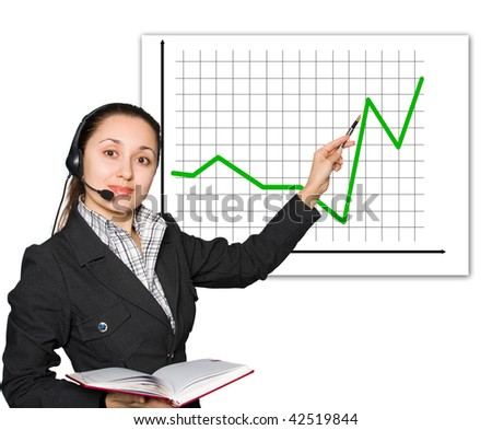 Young women with headset showing red diagram
