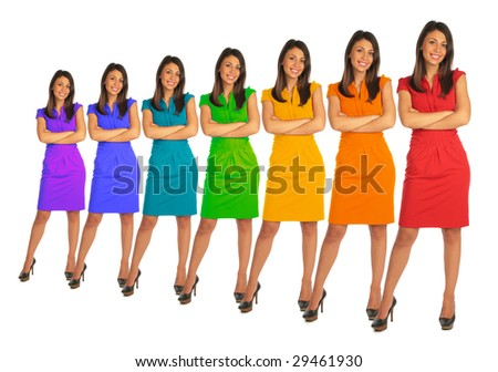 Young women with rainbow color dress collage - stock photo