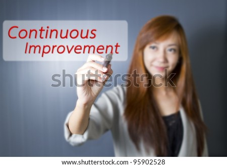 Young women write Continuous Improvement word. - stock photo
