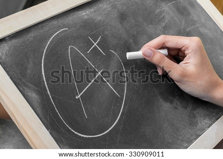Young women write grade a plus on blackboard Stock photo ©