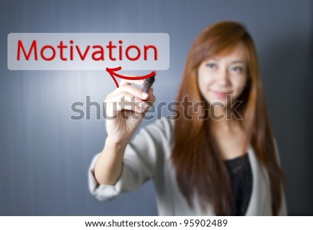 Young women write Motivation word.