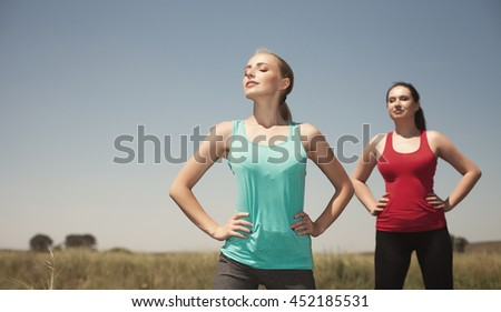 Young  women  yoga outdoors photo stay and  poses